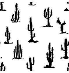 seamless pattern with cactuses and stones vector image