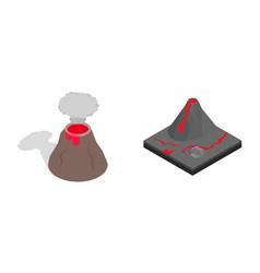 volcano icon set isometric style vector image vector image