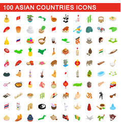100 asian countries icons set isometric 3d style vector
