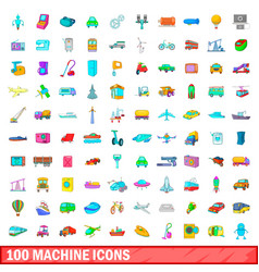 100 machine icons set cartoon style vector