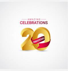 20 years anniversary amazing celebration gold vector