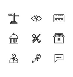 9 line icons set for web and user interface vector image