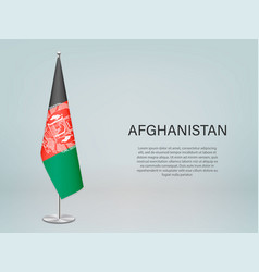Afghanistan hanging flag on stand template vector