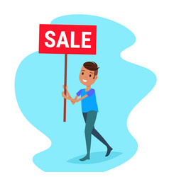 african american man holding sale board special vector image