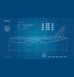 aircraft in outline style blueprint plane vector image