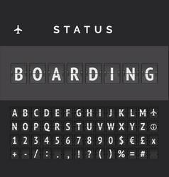 Airport flip board showing flight boarding vector