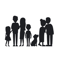All family members gathered together card vector