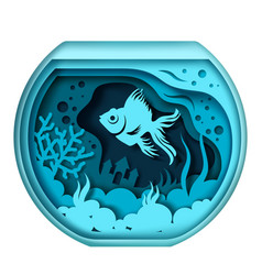 aquarium with pet fish in vector image