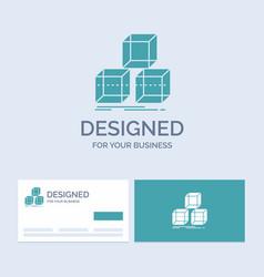 Arrange design stack 3d box business logo glyph vector