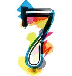 Artistic Font - Number 7 vector