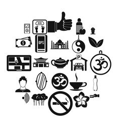 asian culture icons set simple style vector image
