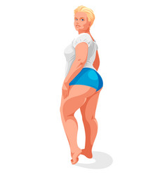Attractive and sexy plus size woman isolated on vector