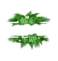 Banner with tropical leaves and flowers vector