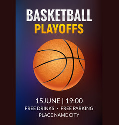 basketball poster sport flyer vector image