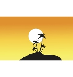 Beautiful scnery palm trees of silhouettes vector
