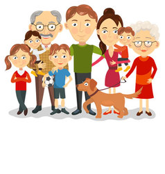 Big and happy family portrait with children paren vector