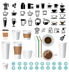 big coffee and tea icons set vector image