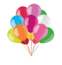 Birthday party balloon set realistic 3d vector