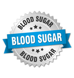 Blood sugar round isolated silver badge vector