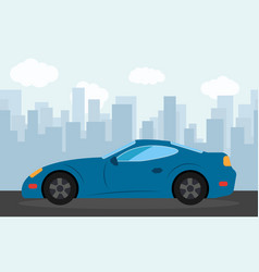 blue sports car in the background of skyscrapers vector image