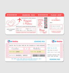 Boarding pass ticket wedding invitation vector