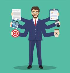 Busy businessmen character multitasking hard work vector
