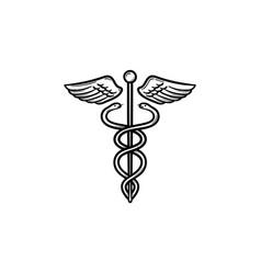 caduceus medical symbol hand drawn outline doodle vector image