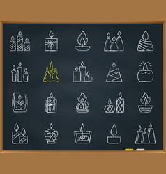 Candle flame chalk draw line icons set vector