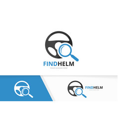car helm and loupe logo combination vector image