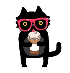 cartoon doodle cat with hipster glasses and coffee vector image