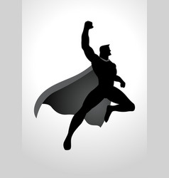 cartoon silhouette of a superhero flying vector image