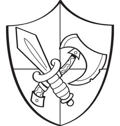 Cartoon sword and axe on a shield vector image