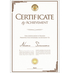 Certificate or diploma retro template 04 vector