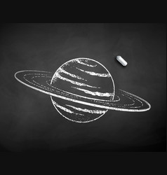 chalk drawn saturn planet vector image