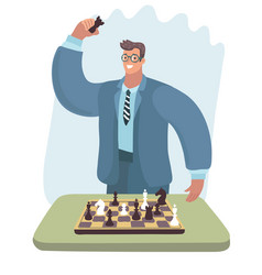 Chess player man in glasses checkmated opponent vector