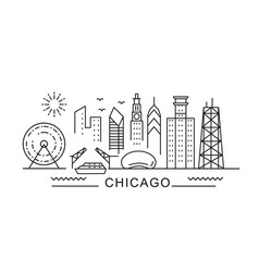 chicago minimal style city outline skyline with vector image