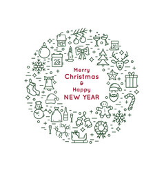 christmas and new year line icon wreath vector image