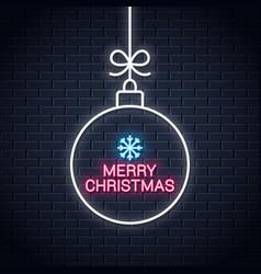 Christmas ball neon sign merry xmas neon on wall vector