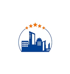 cityscape hotel building five star logo vector image