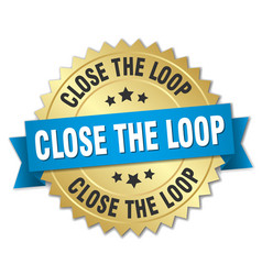 Close loop round isolated gold badge vector