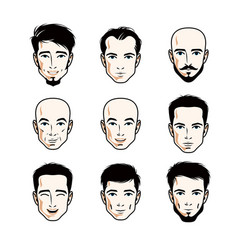 Collection caucasian men faces expressing vector