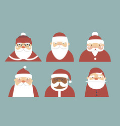 collection various santa claus characters vector image