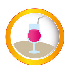 colorful circular frame with cocktail drink vector image