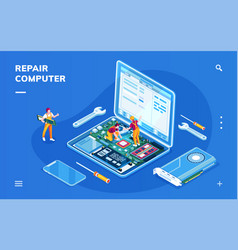 computer repair service for smartphone application vector image