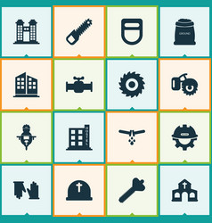 construction icons set with gloves bolt flowing vector image