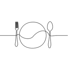 Continuous line plate spoon and fork vector
