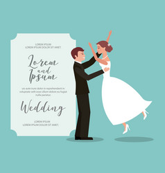couple bride and groom celebrating wedding card vector image