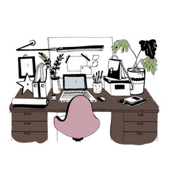 Creative modern workplace with laptop hand drawn vector