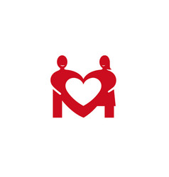 creative two lovers couple negative heart logo vector image