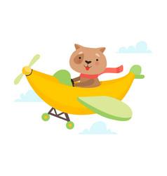 Cute dog flying on airplane made banana funny vector